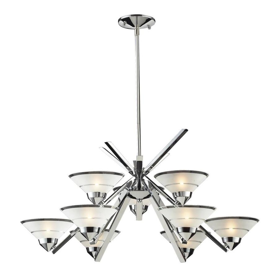 Westmore Lighting Beryl 31-in 9-Light Polished Chrome Etched Glass Shaded Chandelier