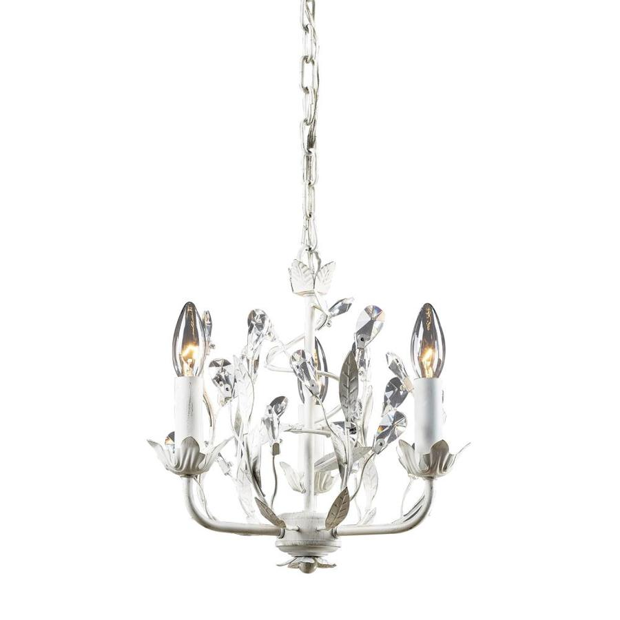 Westmore Lighting Faun 11-in 3-Light Antique White Crystal Candle Chandelier