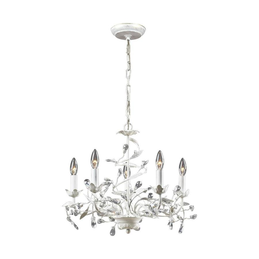 Westmore Lighting Faun 21-in 5-Light Antique White Crystal Candle Chandelier