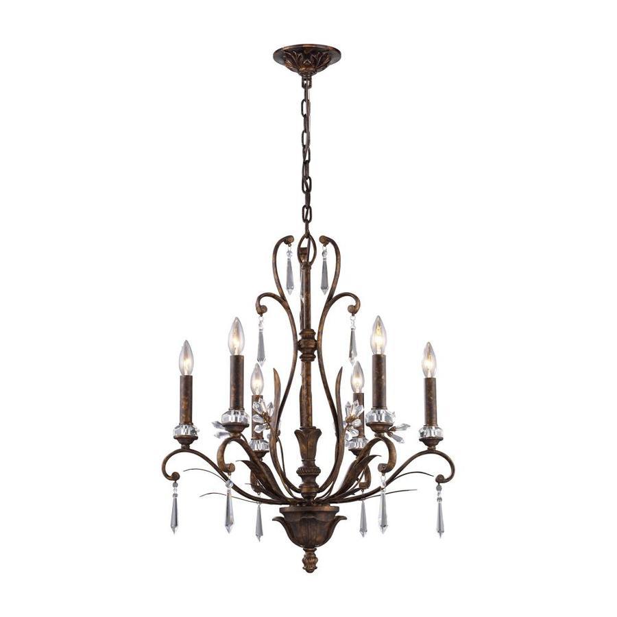 Westmore Lighting Ottawa 23-in 6-Light Burnt Bronze Crystal Candle Chandelier