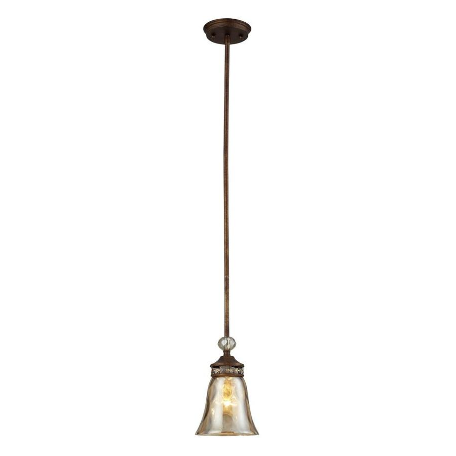 Westmore Lighting Solano 6-in Mocha and Champagne Glass Mini Pendant