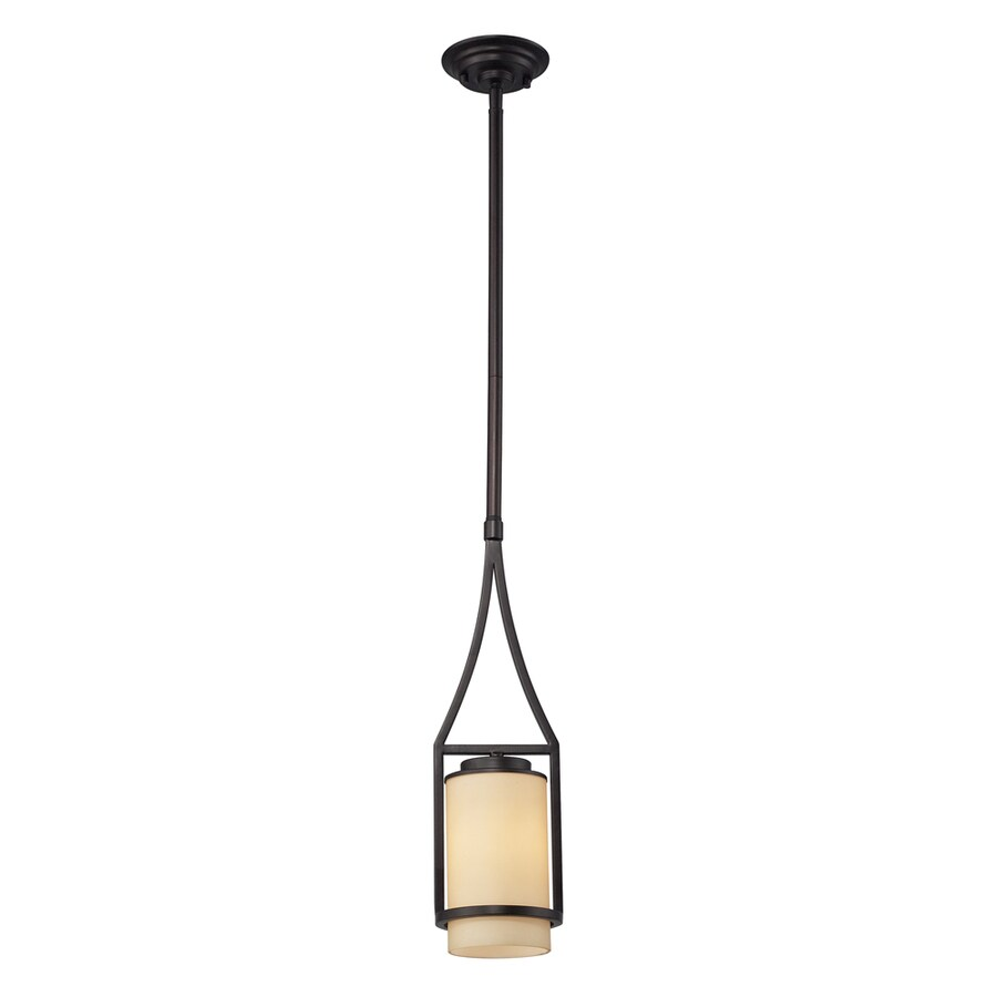 Westmore Lighting Steerforth 5-in Oiled Bronze and Light Amber Glass Mini Pendant
