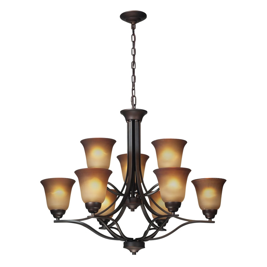 Westmore Lighting Longford 32-in 9-Light Aged Bronze and Antique Amber Glass Tinted Glass Shaded Chandelier