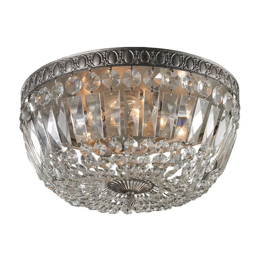 Westmore Lighting Crissay 15-in W Sunset Silver and Clear Crystals Ceiling Flush Mount Light