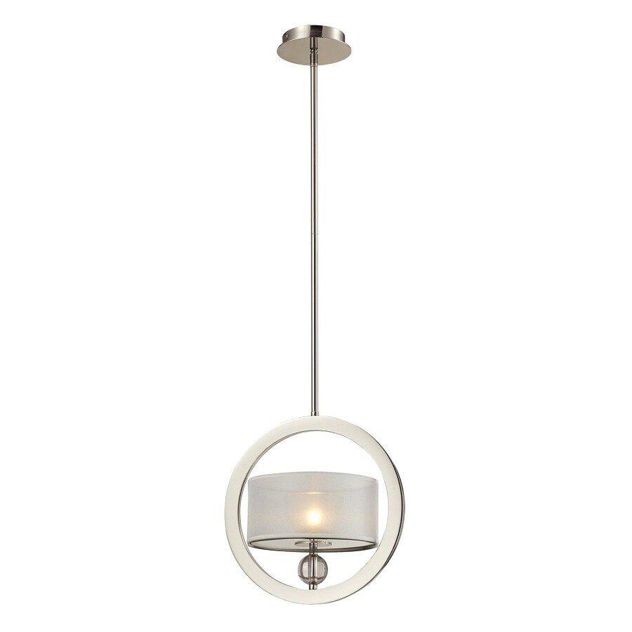 Westmore Lighting Stepney 12-in Polished Nickel and Frosted Glass Diffusers with Silver Organza Shade Single Pendant