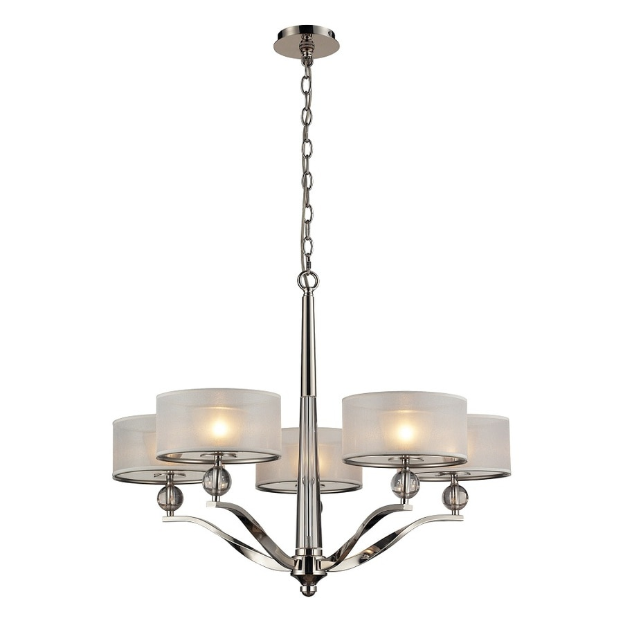 Westmore Lighting Stepney 30-in 6-Light Polished Nickel with Frosted Glass and And Silver Organza Fabric Drum Chandelier