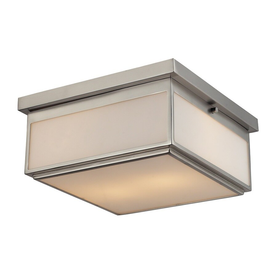 Westmore Lighting Shetland 13-in W Brushed Nickel and Opal White Glass Ceiling Flush Mount Light