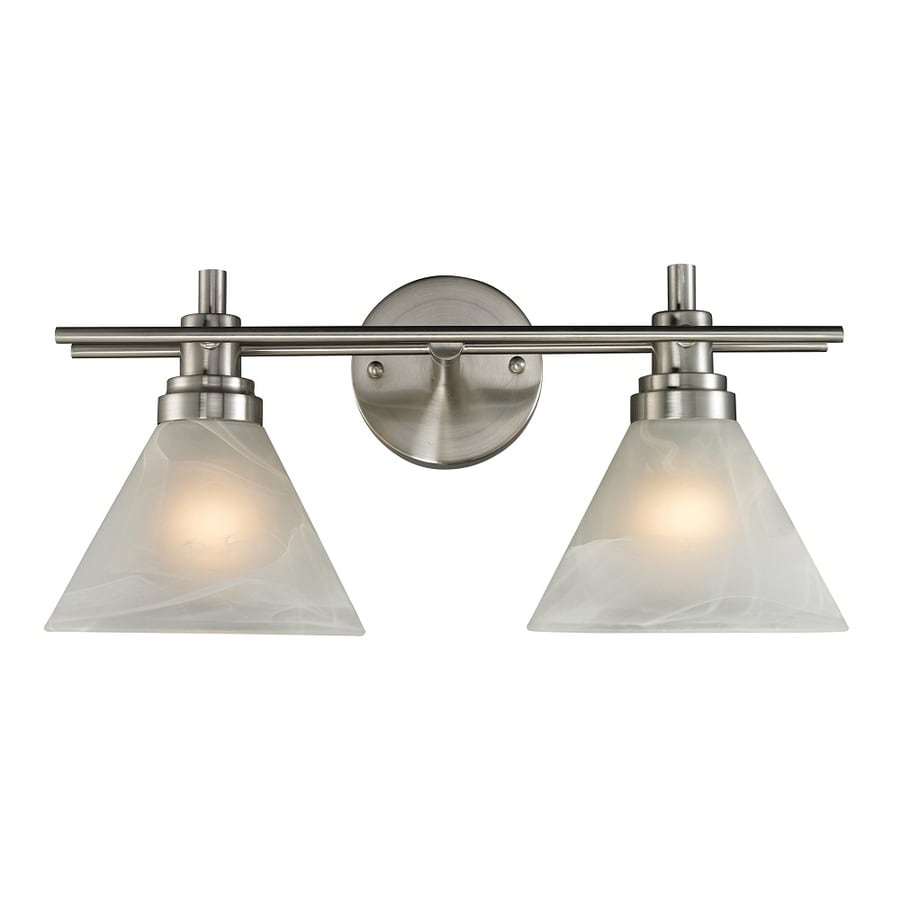 Westmore Lighting Coshocton 2-Light Brushed Nickel and White Marbleized Glass Cone Vanity Light
