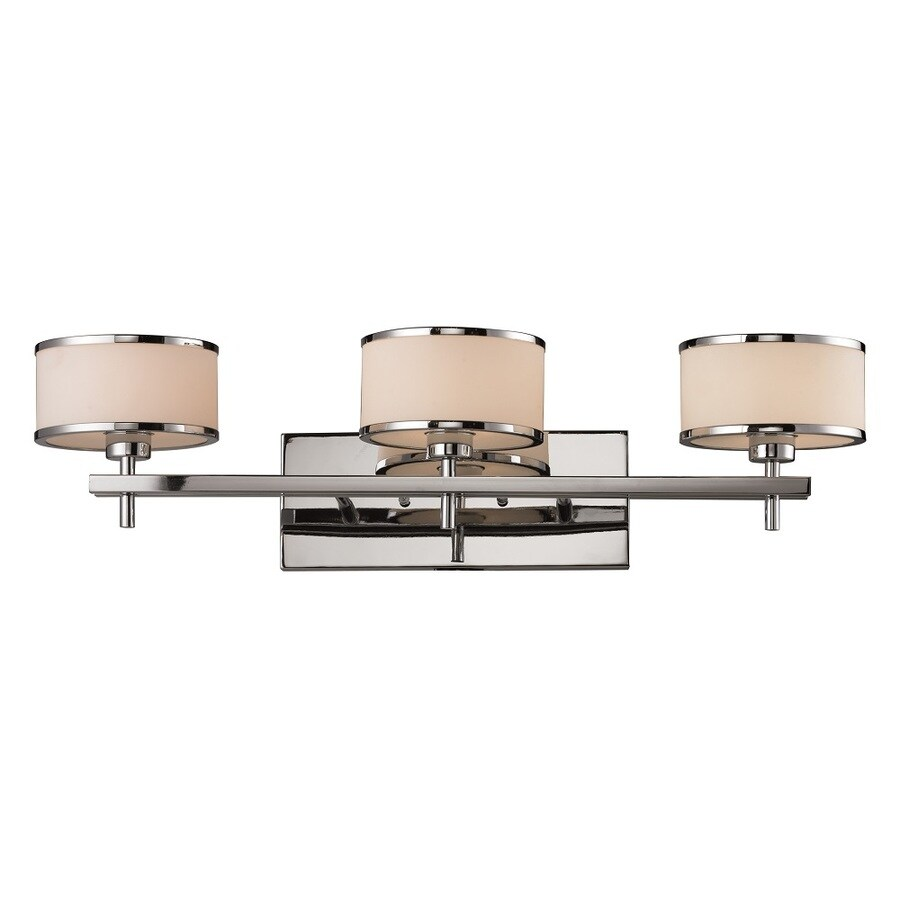 Blown Glass Vanity Light : Shop Westmore Lighting Lufton 3-Light Polished Chrome with White Blown Glass Drum Vanity Light ...