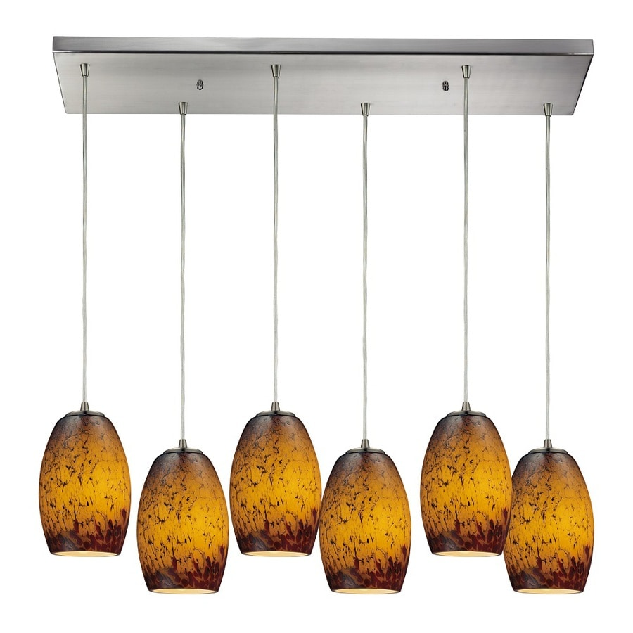 Westmore Lighting Moala 30-in Satin Nickel and Sunset Glass Mini Tinted Glass Pendant
