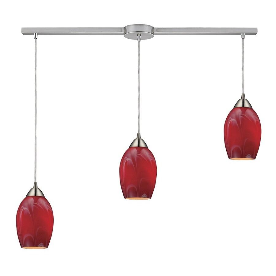 Westmore Lighting Kapiti 36-in Satin Nickel and Cherry Glass Mini Tinted Glass Pendant
