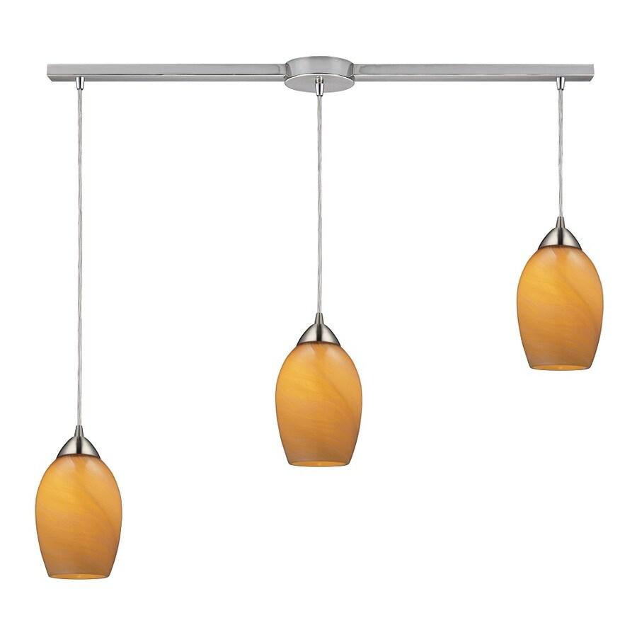 Westmore Lighting Kapiti 36-in Satin Nickel and Honey Melon Glass Mini Tinted Glass Pendant
