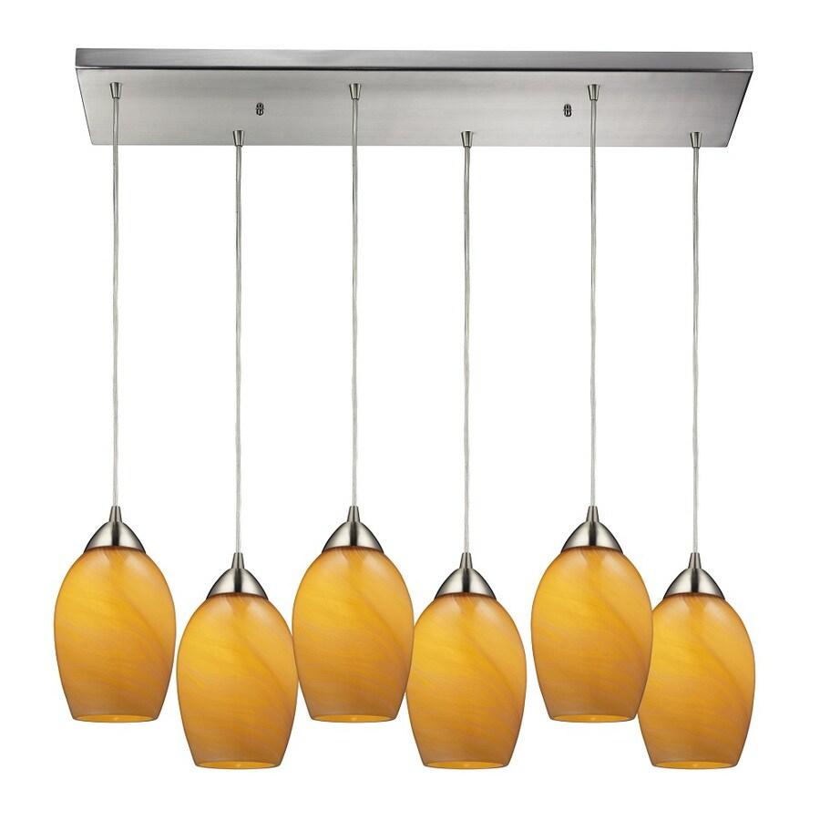 Westmore Lighting Kapiti 30-in Satin Nickel and Honey Melon Glass Mini Tinted Glass Pendant