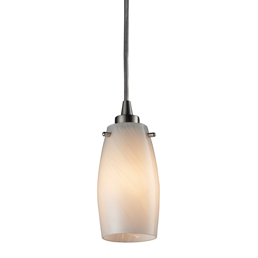 Westmore Lighting Petani 3-in Satin Nickel and Coconut Glass Mini Tinted Glass Pendant