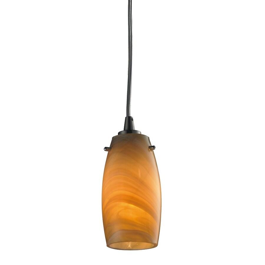 Westmore Lighting Petani 3-in Satin Nickel and Honey Melon Glass Mini Tinted Glass Pendant
