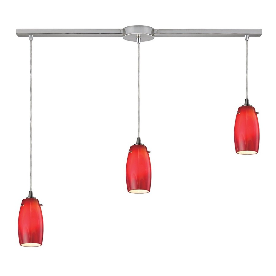 Westmore Lighting Petani 36-in Satin Nickel and Cherry Glass Mini Tinted Glass Pendant