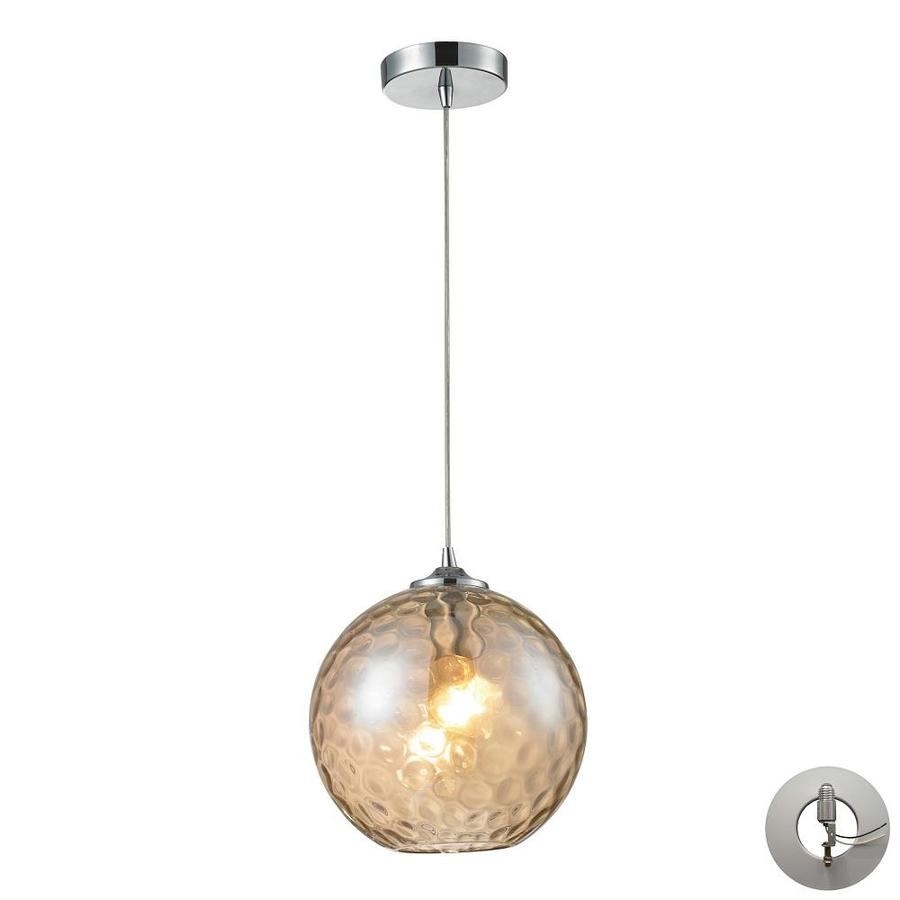 Westmore Lighting Lochmere 10-in Polished Chrome and Champagne Glass Mini Tinted Glass Pendant
