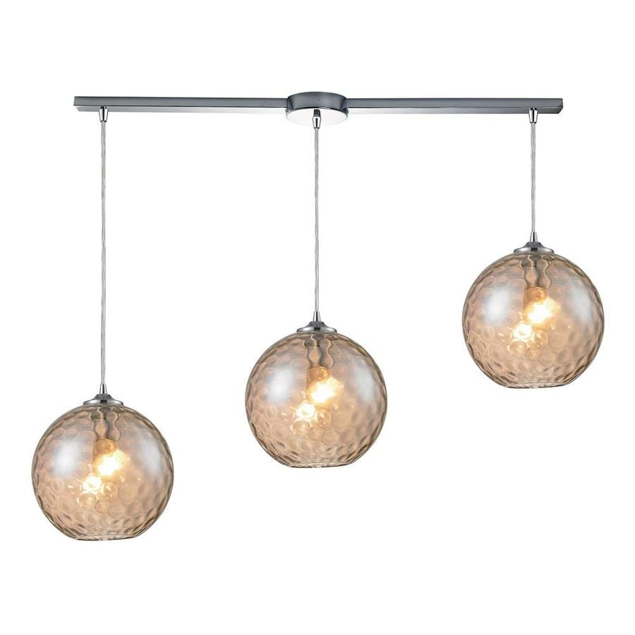Westmore Lighting Lochmere 36-in Polished Chrome and Champagne Glass Mini Tinted Glass Pendant