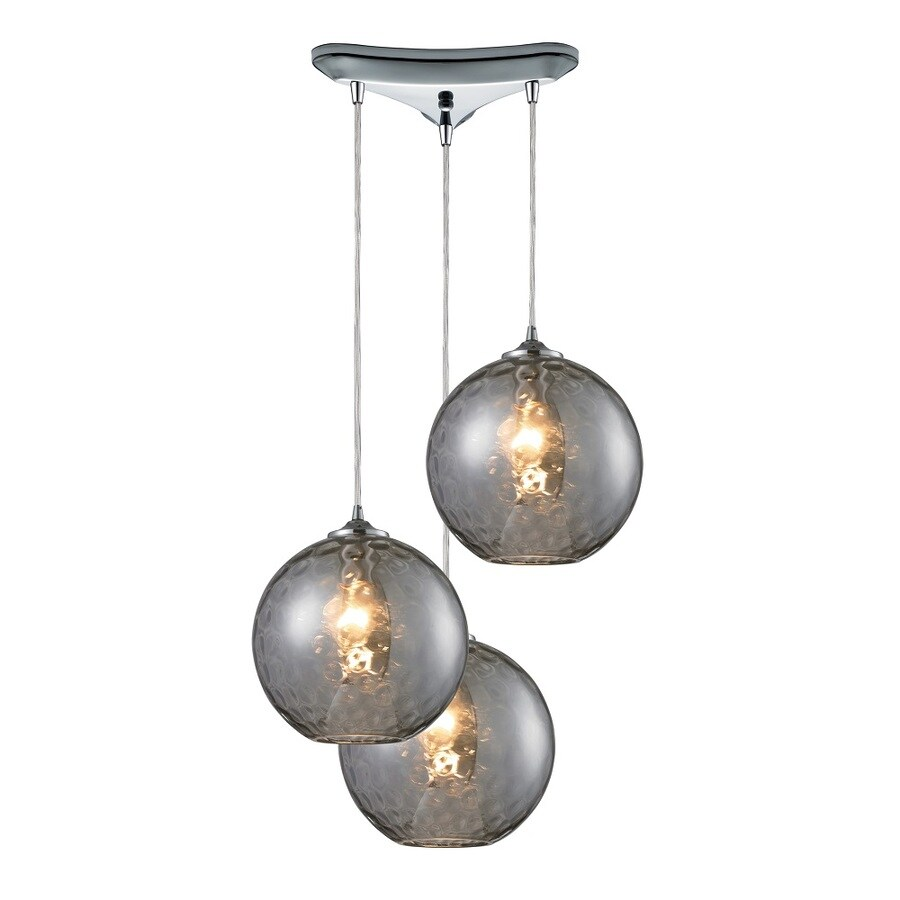 Shop Westmore Lighting Lochmere 10-in Polished Chrome and Smoke Glass Mini Tinted Glass Pendant ...