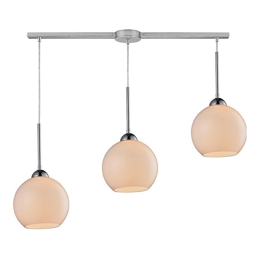 Westmore Lighting Swancott 36-in Polished Chrome and White Glass Mini Tinted Glass Pendant