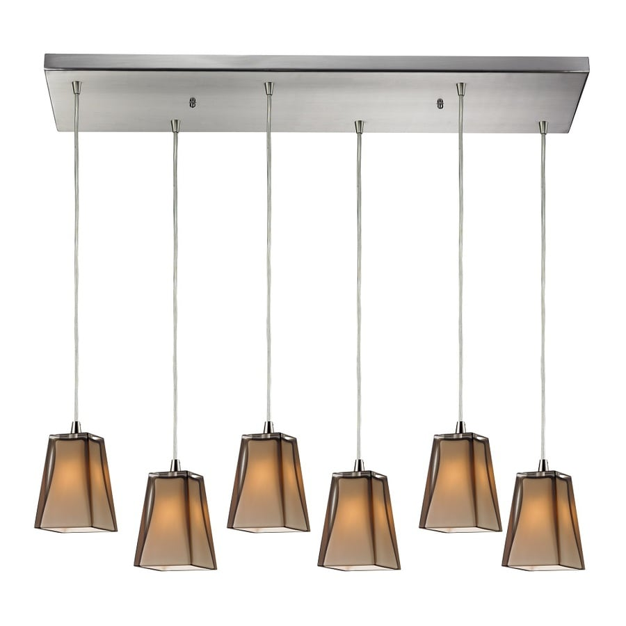 Westmore Lighting Amador 30-in Satin Nickel and Tinted Glass Shade Mini Tinted Glass Pendant