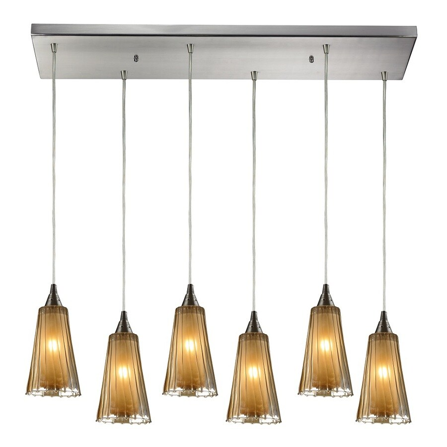 Westmore Lighting Shasta 30-in Satin Nickel and Tinted Glass Shade Mini Tinted Glass Pendant