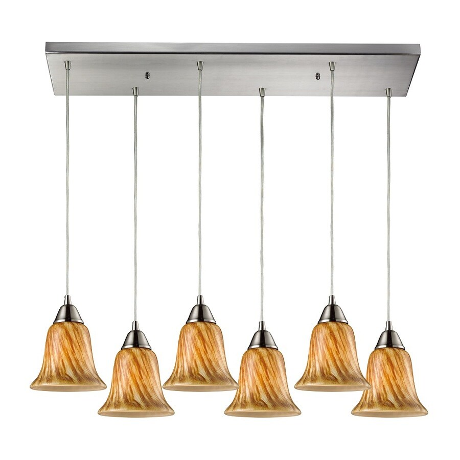 Westmore Lighting Plumas 30-in Satin Nickel and Toffee Glass Mini Tinted Glass Pendant