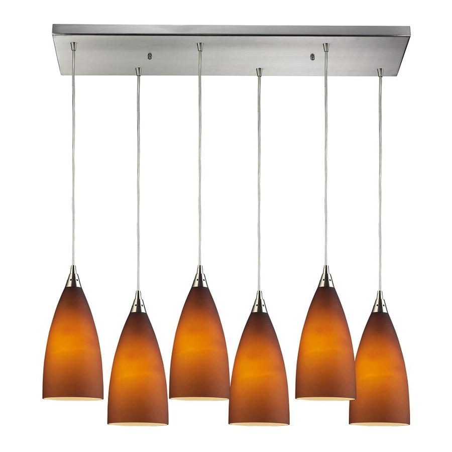 Westmore Lighting Helmsdale 30-in Satin Nickel and Tobacco Glass Mini Tinted Glass Pendant