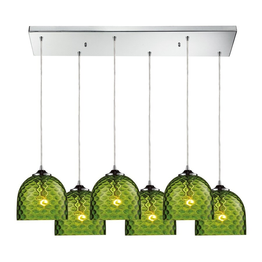Westmore Lighting Avia 30-in Polished Chrome and Green Glass Mini Tinted Glass Pendant
