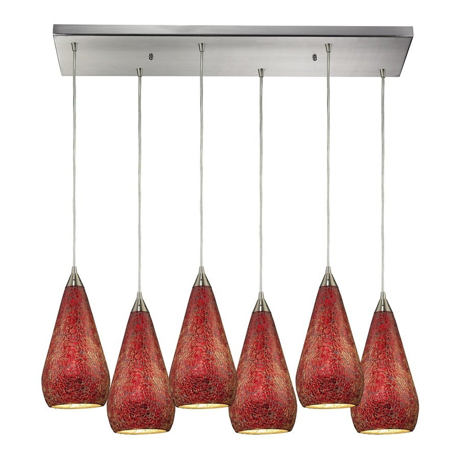 Westmore Lighting Clavella 30-in Satin Nickel and Ruby Glass Mini Tinted Glass Pendant