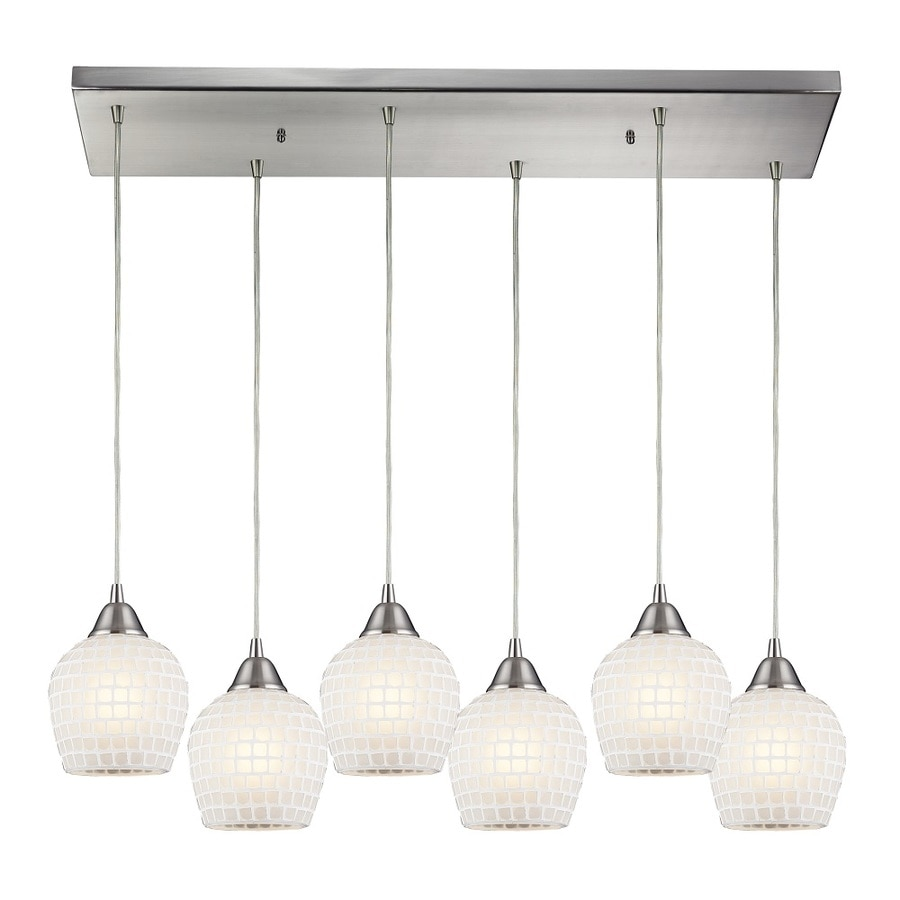 Westmore Lighting Brazoria 30-in Satin Nickel and White Glass Mini Pendant