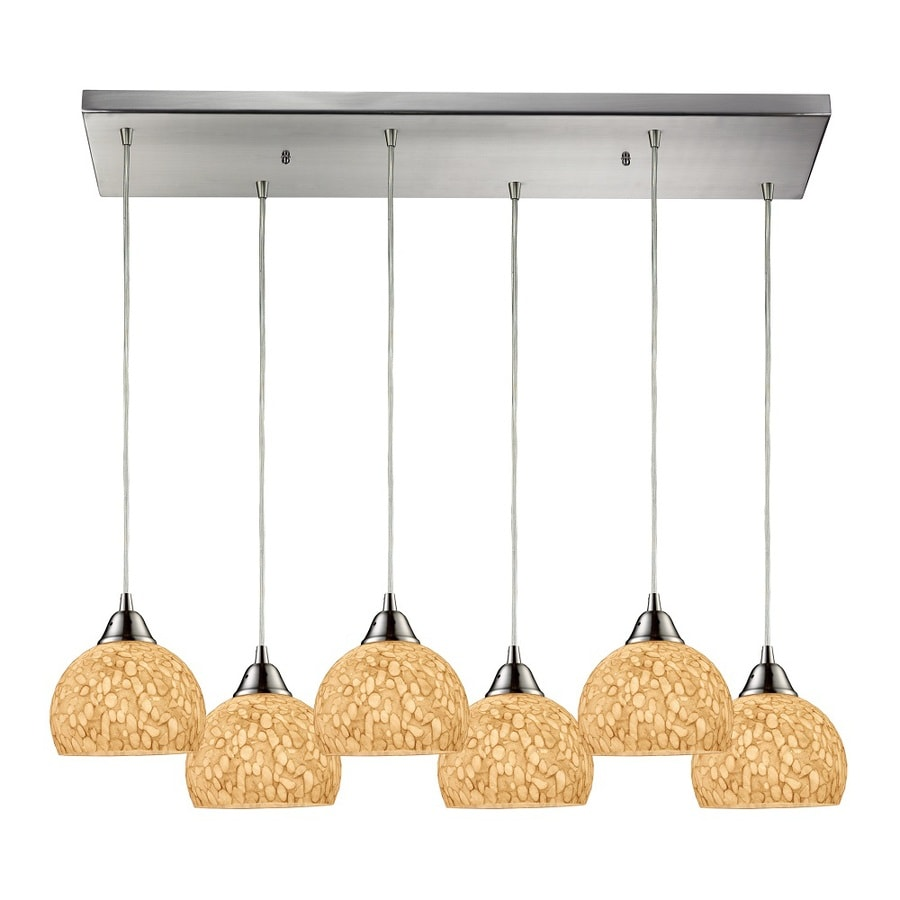 Westmore Lighting Bexar 30-in Satin Nickel and Pebbled Grey-White Glass Mini Tinted Glass Pendant