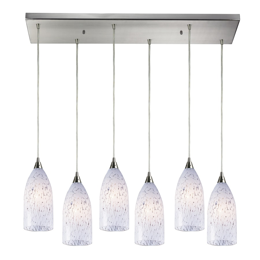 Westmore Lighting Novia 30-in Satin Nickel and Snow White Glass Mini Tinted Glass Pendant