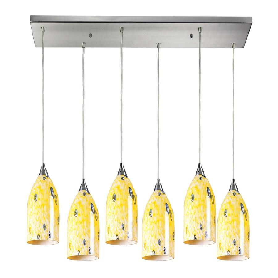 Westmore Lighting Novia 30-in Satin Nickel and Yellow Blaze Glass Mini Tinted Glass Pendant