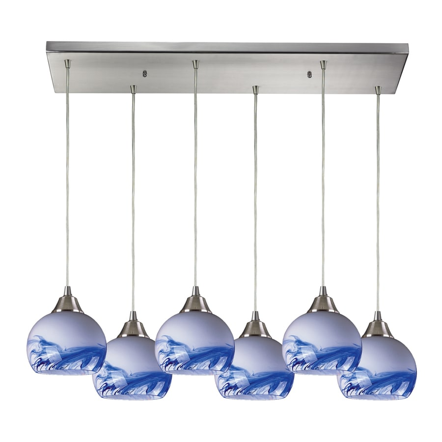 Westmore Lighting Lemora 30-in Satin Nickel and Mountain Glass Mini Tinted Glass Pendant