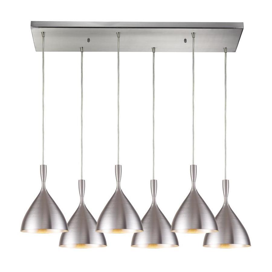 Westmore Lighting Lathelia 30-in Satin Nickel and Spun Aluminum Mini Tinted Glass Pendant