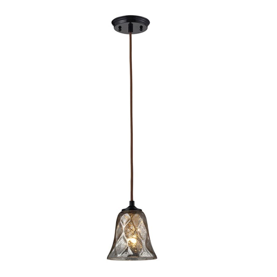 Westmore Lighting Erinfield 6-in Oiled Bronze and Tinted Glass Mini Tinted Glass Pendant