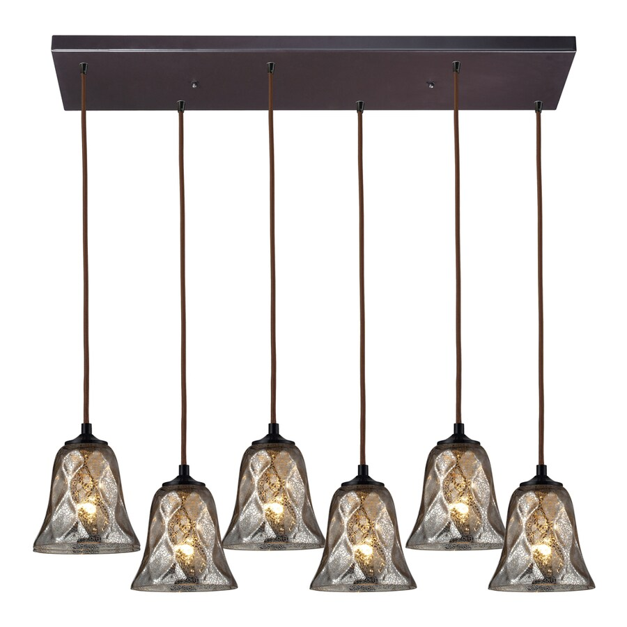 Westmore Lighting Erinfield 30-in Oiled Bronze and Tinted Glass Mini Tinted Glass Pendant