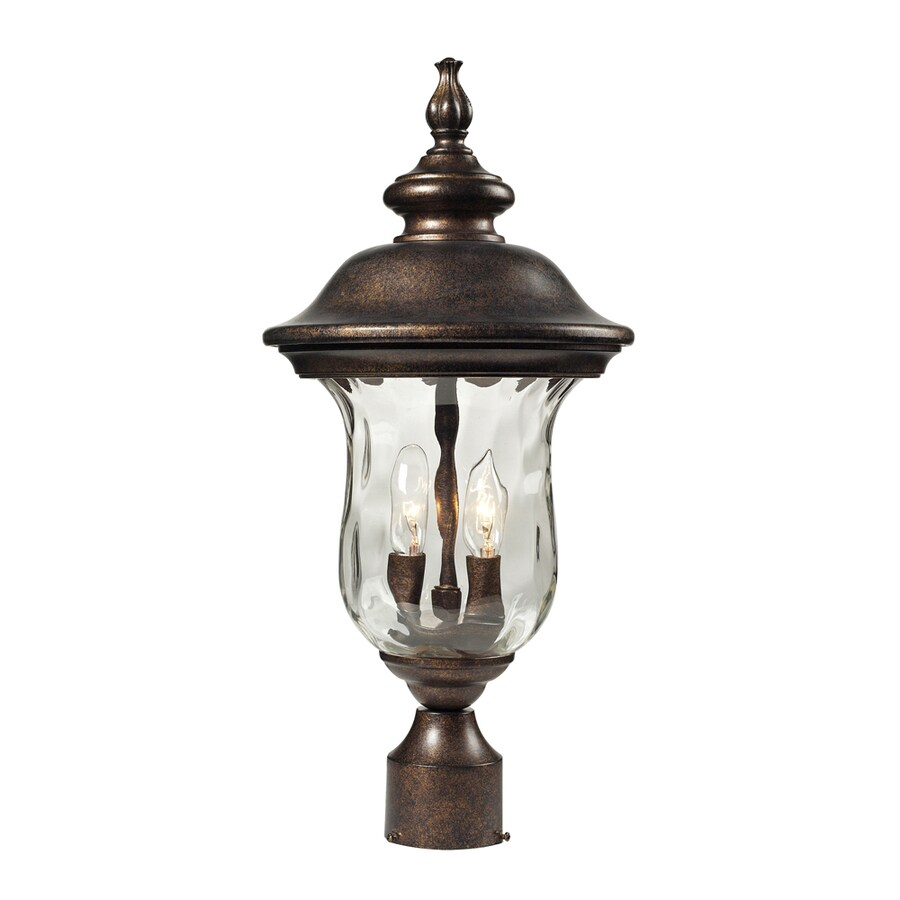 Westmore Lighting Elsfield 21-in H Regal Bronze and Water Glass Post Light