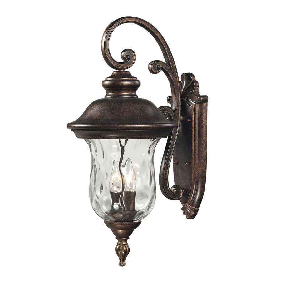 Westmore Lighting Elsfield 22-in H Regal Bronze and Clear Blown Water Glass Outdoor Wall Light