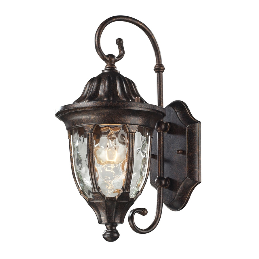 Westmore Lighting Kinfirth 14-in H Regal Bronze and Clear Water Glass Outdoor Wall Light