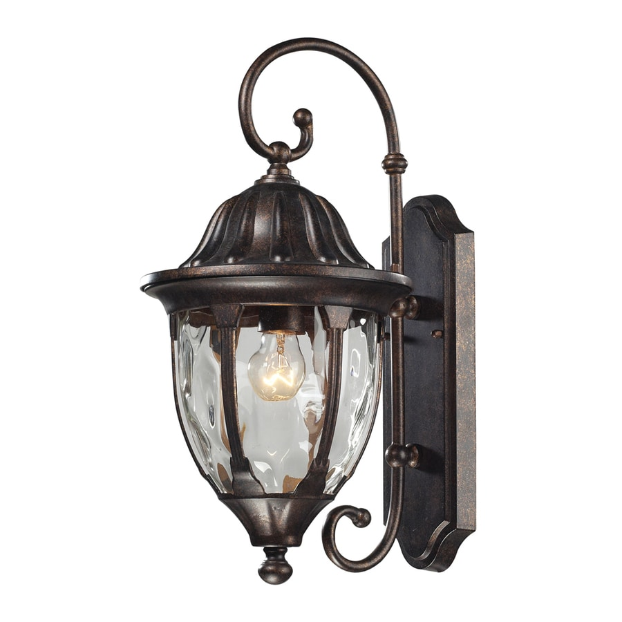 Westmore Lighting Kinfirth 18-in H Regal Bronze and Clear Water Glass Outdoor Wall Light