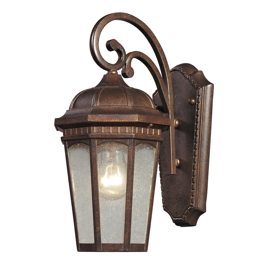 Westmore Lighting Helmshore 13-in H Hazelnut Bronze and Seedy Glass Outdoor Wall Light