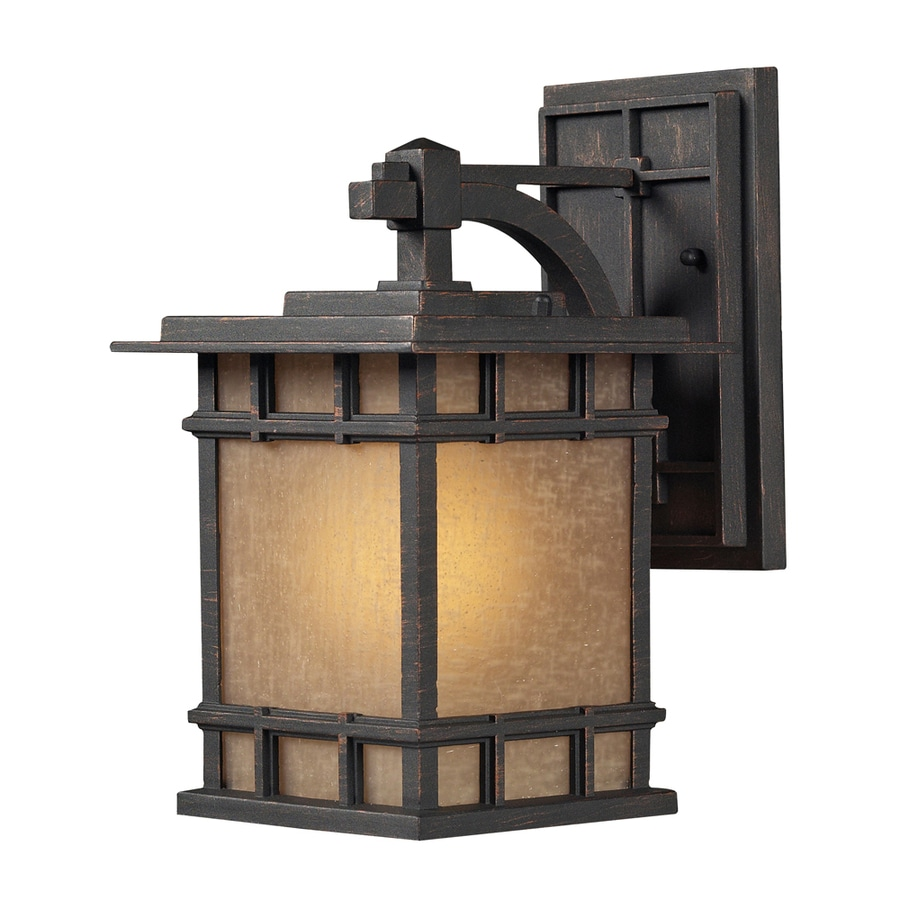 Westmore Lighting Croston 12-in H LED Weathered Charcoal and Seeded Amber Linen Glass Outdoor Wall Light