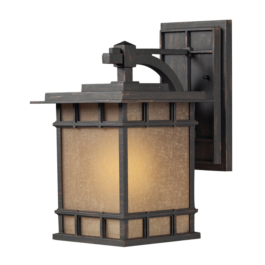 Westmore Lighting Croston 15-in H LED Weathered Charcoal and Seeded Amber Linen Glass Outdoor Wall Light