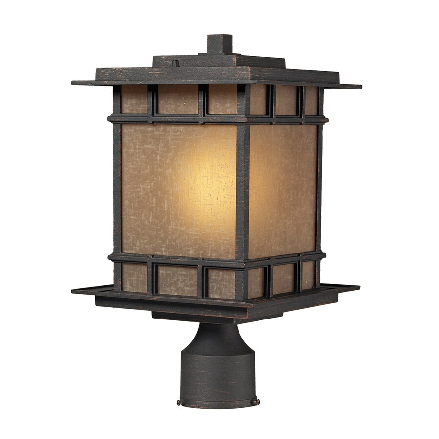 Westmore Lighting Croston 16-in H Weathered Charcoal and Amber Glass LED Post Light