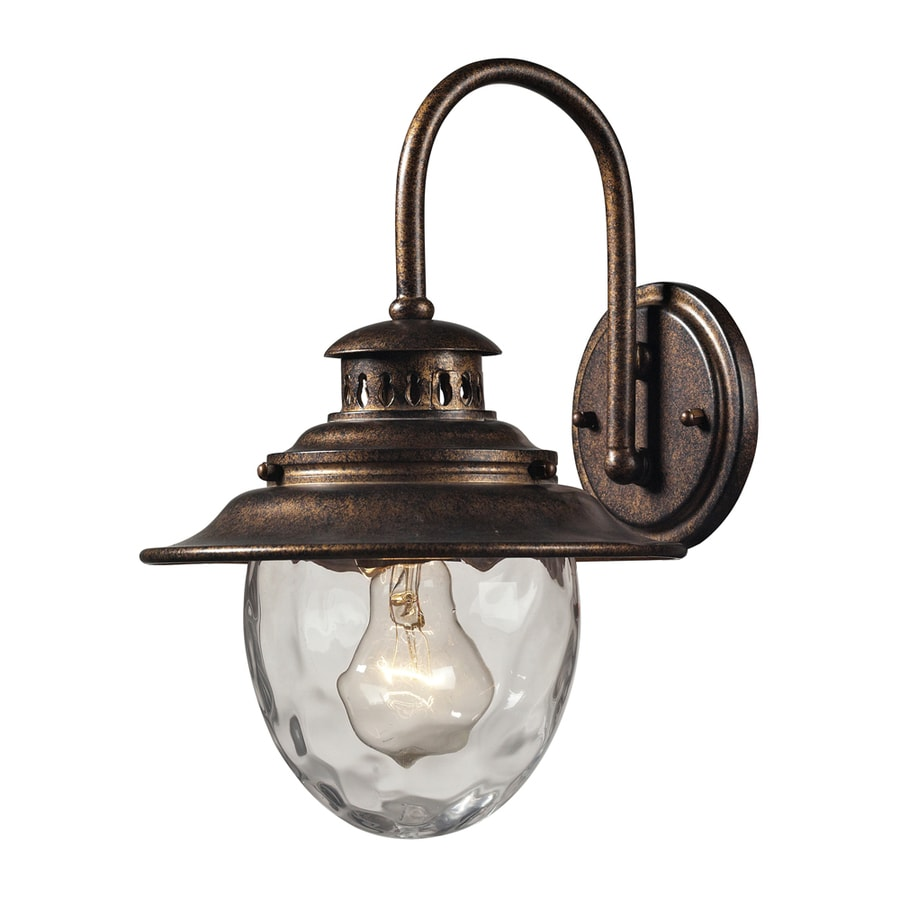 Westmore Lighting Farington 13-in H Regal Bronze and Clear Water Glass Outdoor Wall Light