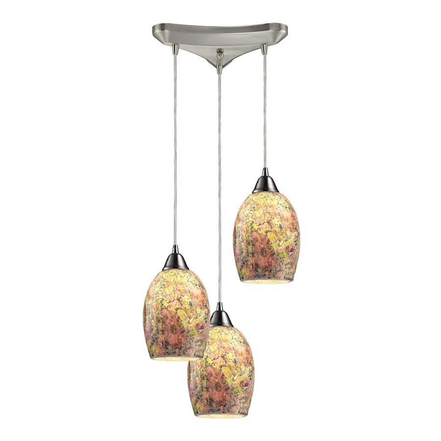 Westmore Lighting Fradley 10-in Satin Nickel and Crackled Multicolor Glass Mini Textured Glass Pendant