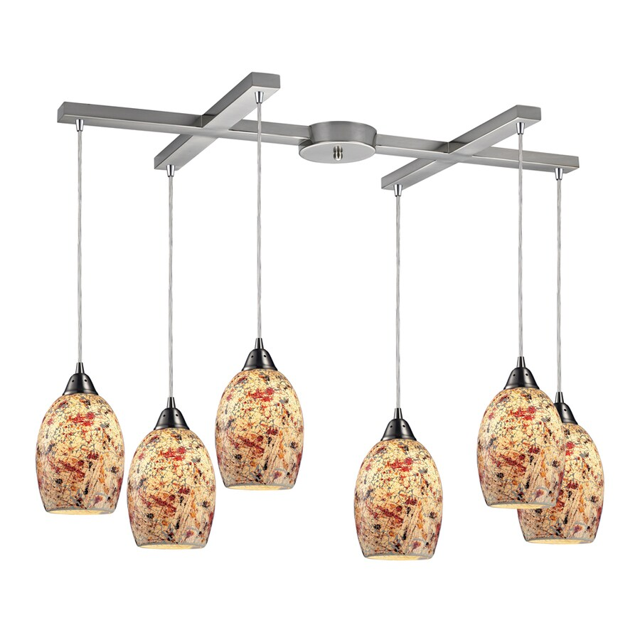 Westmore Lighting Fradley 33-in Satin Nickel and Crackled Multicolor Glass Mini Textured Glass Pendant