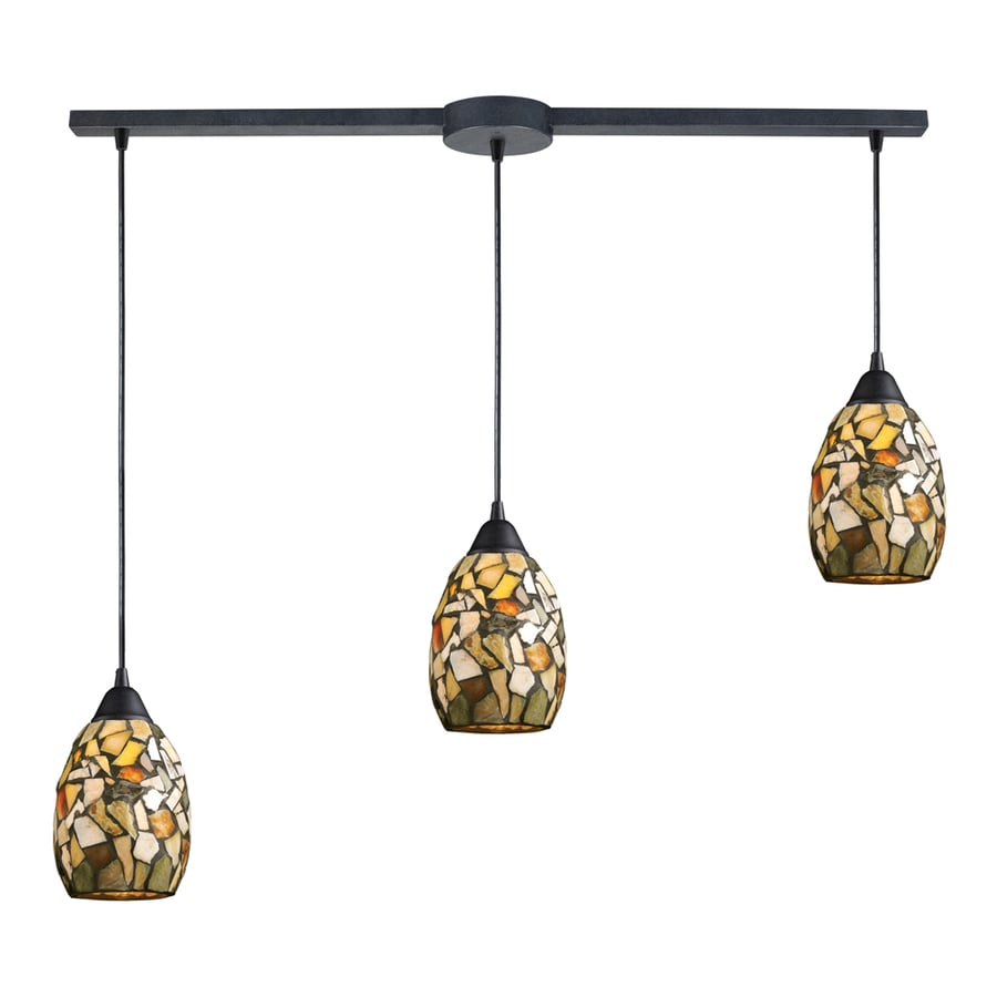 Westmore Lighting Berkswich 36-in Dark Rust and Multicolor Stone Mini Textured Glass Pendant